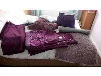 Purple curtains rug n cushions