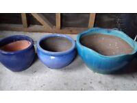 3 Assorted Ceramic Garden Planters
