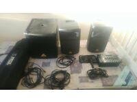 Portable PA Speaker System with Subwoofer, Speaker Poles and Cables
