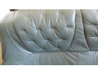 Two olive green leather sofas /three and two seater /