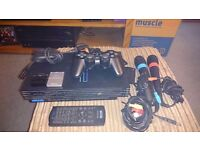 Playstation 2. Controllers, memory cards, microphones and games