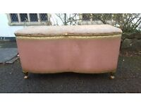 Pink Vintage Lloyd Loom Style Ottoman with Storage & Padded Top Shabby Chic Project