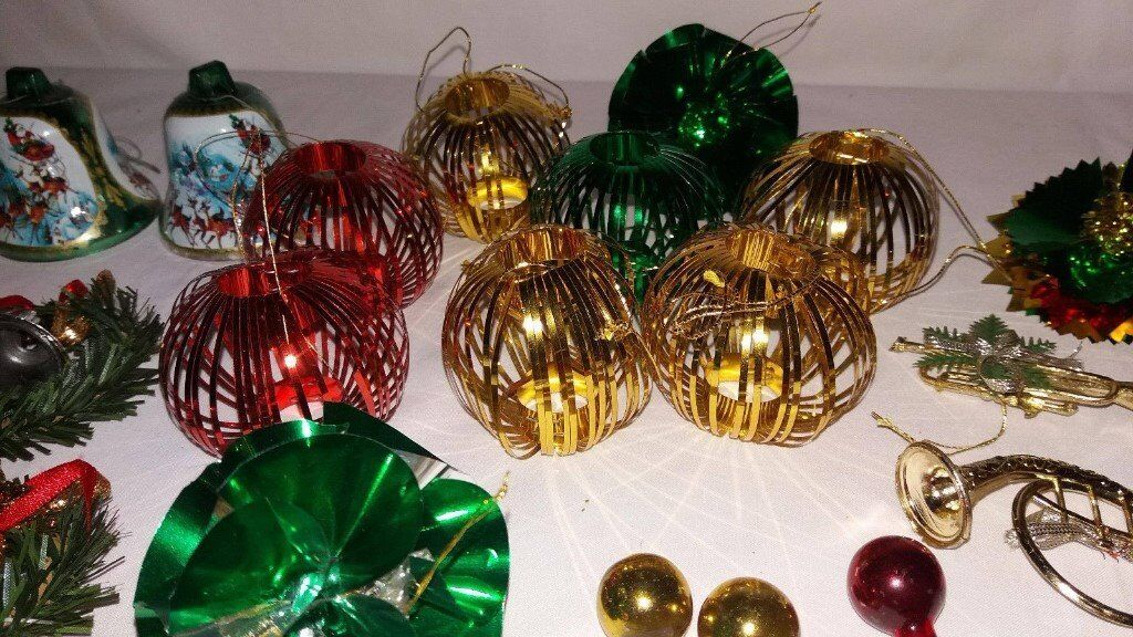 Vintage Retro Style Christmas Tree Decorations Gl Foil Tinsel 35 Total