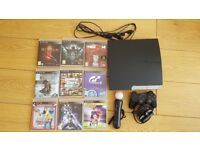 Playstation 3 Slim + MOVE with 9 games