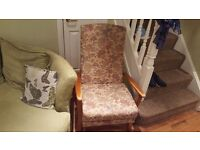 Vintage Retro High Back Parker Knoll Style Armchair Fireside Bedroom Chair Floral Design