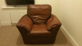 Real genuine leather brown chair armchair recliner reclining