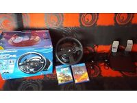 Thrustmaster T300RS PS4, PS3 and PC Force Feedback Steering Wheel + Dirt Rally and Project Cars