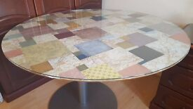 Dining / outdoor round glass table upcycled unusual map patchwork 46 inch wide sturdy