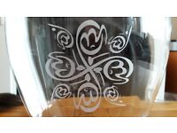 NEW - Glass Vase with Calligraphy (Middle East Style)