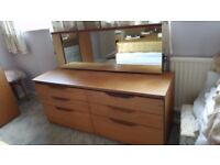 Dressing table (teak effect) with full width mirror and six drawers