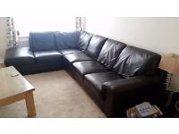 Leather Corner Sofa - Chocolate Brown
