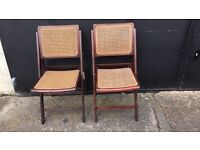 Antique woven fold up chairs