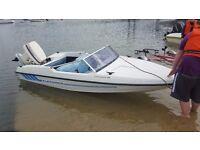 original fletcher arrow spirit 129 speedboat with aluminium trailer and 50hp johnson vro