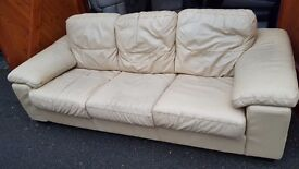 Cream Leather Sofa. FREE delivery in Derby