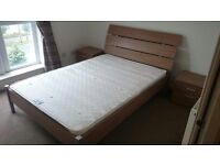 DFS double bed, side tables and mattress