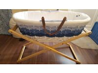 Mothercare ombre blue moses basket inlcuding stand