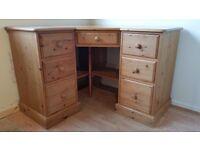 Pine Corner Dressing Table / Desk
