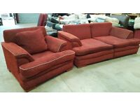 Fabric 2.5 seater sofa and armchair in very good condition. Happy to deliver at diesel cost