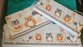 baby bedding owl set/covers +6 baby diapers tetra