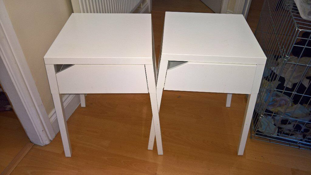 Two White Metal Ikea Bedside Tables In Earley Berkshire