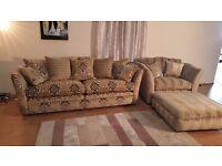 P.K. Ex-display Burlington patterned fabric grand sofa,stripe fabric snuggler chair and puffee