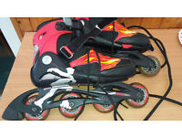 Inline adjustable roller skates - Roces - plenty of use left in them. adult Size 4 to 7 UK