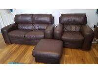 Brown leather suite for sale