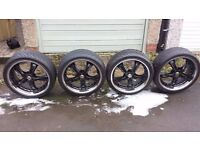 20 inch Wolf race alloys deep dish black and chrome with tyres