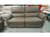 SCS Teo Grey Leather 3 Seater Manual Recliner Sofa Can Deliver View Collect Kirkby NG177