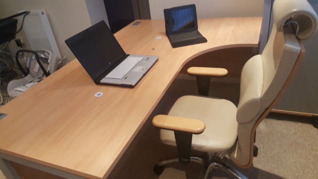Top quality Beech office Desk, Leather office Chair, and storage ...