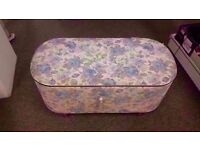 FAIR CONDITION! flowery design/pattern ottoman storage