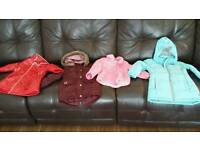 Bundle of girls coats aged 2-3 years