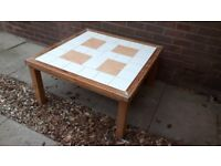 Pine coffee table with tile top