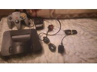 FULLY WORKING BLACK NINTENDO 64 WITH ALL WIRES + 1 CONTROLLER DISCOUNTED
