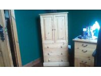 SOLID WOOD TALL UNIT WITH CUPBOARD AND DRAWERS..GREAT PIECE, SEE ALL ADS AND PICS AS LOTS MORE ITEMS