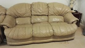Fawn Color 3 Seater with 2 arm chairs Leather Sofa - £50 Only!!!