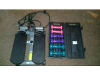 Fitness stepper and weights