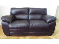 2 seat brown faux leather sofa