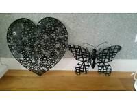 £10 Pair - Metal butterfly & love heart hanging garden decoration