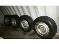 Volkswagen Transporter Wheels And Tyres, 205/65/r16 And Centre Caps VW