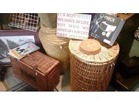 Various wicker baskets also wicker pet carrier must see various prices