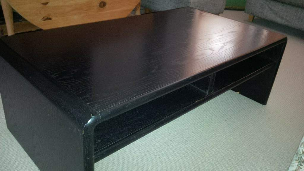 Coffee table, solid-pine, black-stained wood grain