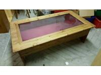 Antique pine and glass display coffee table