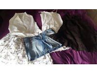 Dresses, coats, T-shirts, skirts, scarfs, bags