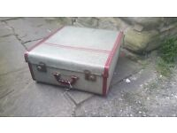 Vintage Retro Green Red Foxcroft Suitcase Suit Case Luggage Travel Trunk Storage