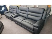 SCS Neso Black Leather 3 Seater Electric Recliner & 2 Seater Manual Recliner Sofas Can Deliver