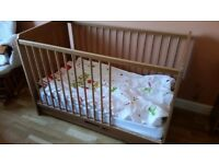 Pine wood cot bed with mattress and drower