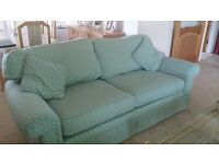 Two 4 seater settees and large stool