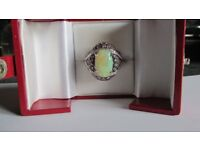 14ct white gold opal & pink stones ring