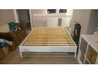 IKEA King Sized bed, white wood, high slatted bed head, low bed end